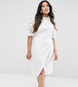 Read more about Truly you lace bodice pencil dress with ruffle neck and wrap skirt - white
