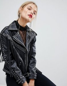 Read more about Mango stud and fringe faux leather jacket - black