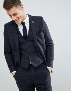 Read more about French connection brushed flannel slim fit tobacco check suit jacket - blue