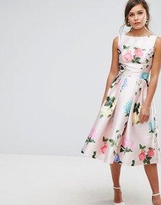 Read more about Chi chi london printed satin midi prom dress - multi floral