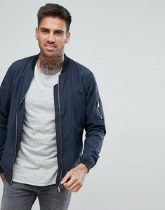 Read more about Pull bear bomber jacket with ma1 pocket in navy - navy blue