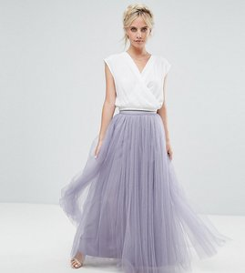 Read more about Little mistress petite maxi tulle prom skirt - dusky lilac