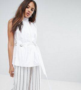 Read more about Asos tall premium high neck cotton top with eyelet detail - white