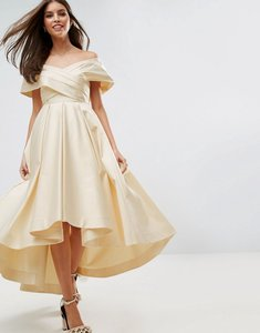 Read more about Asos bridal bonded satin prom dip back midi dress - cream