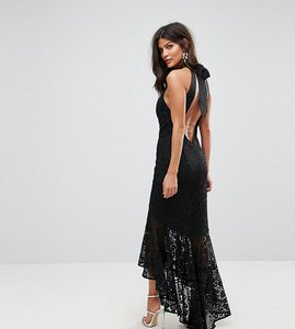 Read more about Jarlo allover cutwork lace high low maxi dress with tie neck detail - black