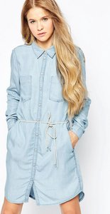 Read more about Only denim dress with belt detail - light blue