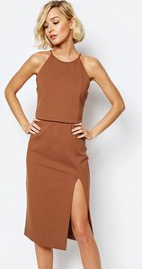 Read more about Lavish alice high neck cropped side split bodycon midi dress - teracotta