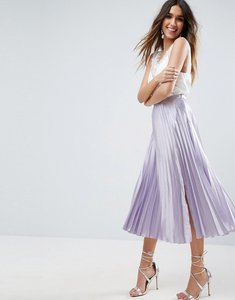 Read more about Asos satin pleated midi skirt with thigh split - lilac