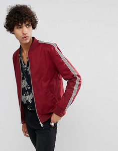 Read more about Asos muscle fit bomber jacket with side stripe in red - red