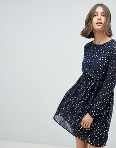 Read more about Vero moda spot skater dress - navy spot
