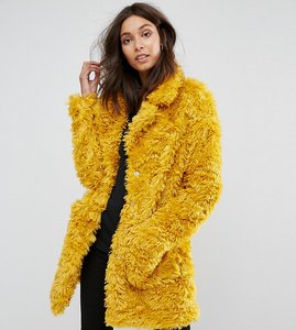 Read more about Glamorous tall coat in snuggle faux fur - mustard teddy fur
