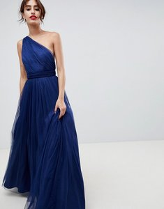 Read more about Asos design premium tulle one shoulder maxi dress - navy