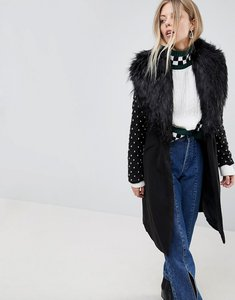 Read more about Parisian longline coat with faux fur collar and studded arms - black