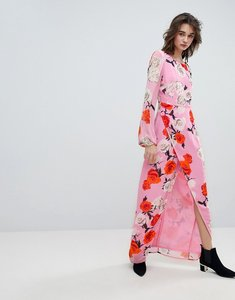 Read more about Gestuz rose printed maxi dress with open v back - pink roses
