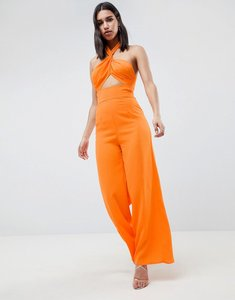 Read more about Asos design cross front jumpsuit with twist neck and wide leg - orange
