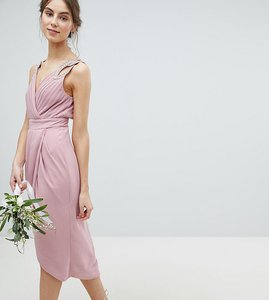 Read more about Tfnc tall wrap embellished midi bridesmaid dress - vintage rose