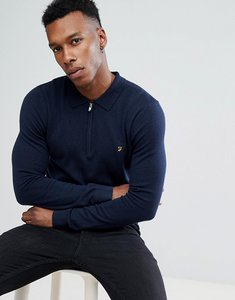 Read more about Farah chesterton slim fit merino zip neck knitted polo in navy - true navy marl 414