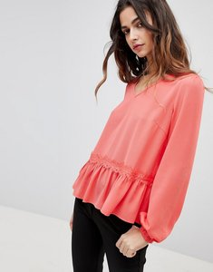 Read more about Y a s lumine drop hem blouse - red