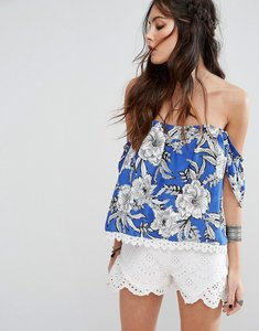 Read more about Lovers friends floral print open back off-shoulder top - riviera floral
