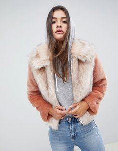 Read more about Asos design faux fur jacket in contrast - multi
