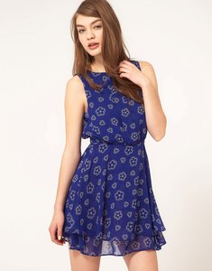 Read more about Asos mini printed dress with double skirt - cream