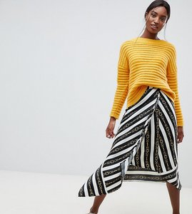Read more about Asos design tall hanky hem midi wrap skirt in chain print - a chain stripe