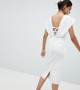 Read more about Asos tall origami wrap pencil dress with lace up back - white
