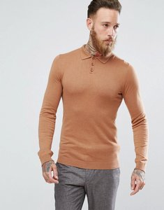 Read more about Asos knitted muscle fit polo in tan - tan