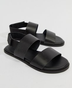 Read more about Kurt geiger london usher leather sandals in black - black