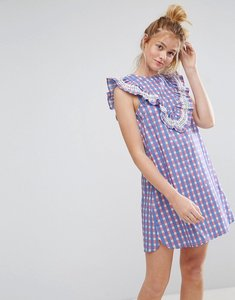 Read more about Asos sleeveless ruffle shift dress in gingham check - multi