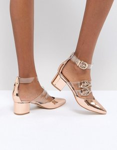 Read more about Raid carmel rose gold metallic heel shoes - clear rose gold
