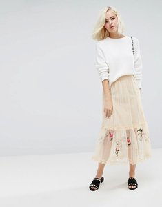 Read more about Lost ink midi skirt in mesh with embroidery - nude