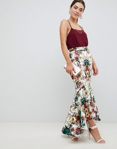 Read more about Asos design baroque print scuba midi skirt with dip back hem - multi