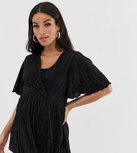 13f02a7636c59 Read more about Asos design maternity nursing plisse wrap top with flutter  sleeve in black