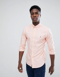 Read more about Polo ralph lauren slim fit button down collar oxford shirt with multi polo player logo in light pink