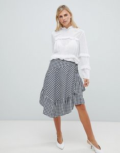 Read more about Vila gingham ruffle skirt - blue combo
