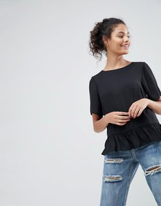 Read more about Asos woven t-shirt with ruffle hem - black