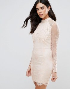 Read more about Girl in mind eyelash lace applique bodycon dress - nude