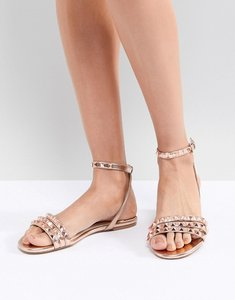 cf87b639d Read more about Faith pyramid rose gold stud flat sandals - rose gold