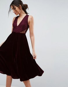 Read more about Asos lace insert velvet panelled midi dress - oxblood