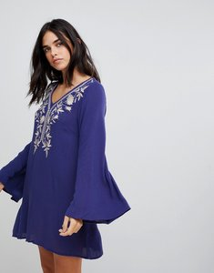 Read more about Lunik tunic with embroidery dress - indigo blue