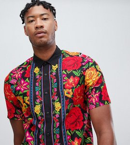 Read more about Asos design tall regular fit floral shirt with border in black - black