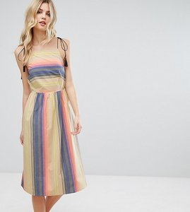 Read more about Asos tall washed stripe sundress with tassel detail - multi
