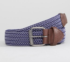 Read more about Asos wide woven belt in navy and white - navy