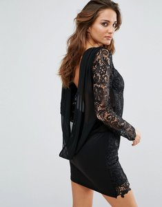Read more about Club l cowl back dress with crochet sleeves - black
