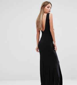 Read more about Club l deep plunge back maxi dress - black