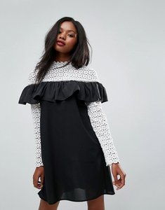 Read more about Club l long sleeve crochet high neck detailed dress - white black bottom