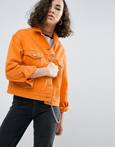 Read more about Asos denim jacket in orange with contrast stitch - orange