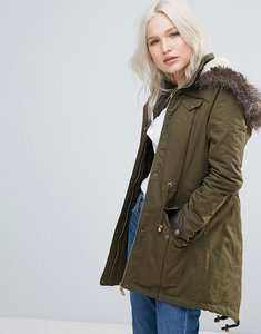 Read more about Brave soul parka coat in mid length with faux fur hood - khaki
