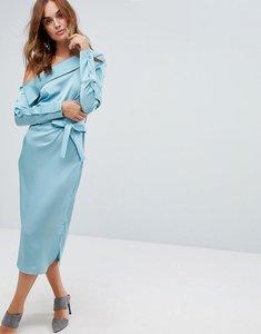 Read more about Lavish alice satin asymmetric dress with tie belt - aqua blue
